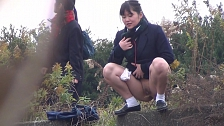 Cute Asian College Co-Eds Leaking Outdoors - Scene 5