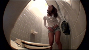 Adorable Asian Chicks Pissing In The Ladies Room - Scene 7